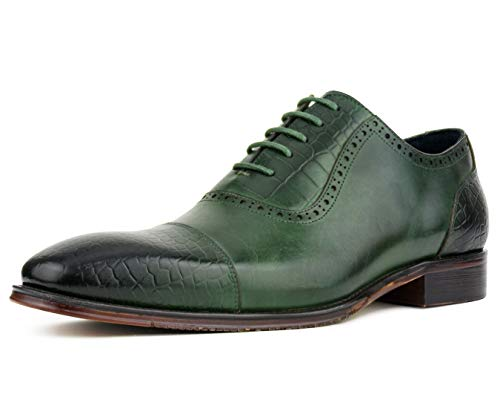(Asher Green Men's Genuine Leather Lace Up Oxford Dress Shoe with Croco Embossed Cap Toe, Vamp, and Backstay, Style AG3077 Green)