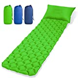 EVERWELL Sleeping Mat Ultralight Camping Air Mattress Inflatable Pad Waterproof Sleep Cushion Pad 20D TPU Nylon Backpack Mat with Pillow, Moisture-Proof Camp Pad for Tent,Travel