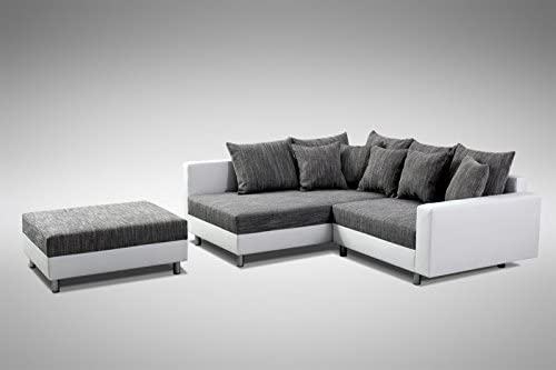Minsk L K/üchen-Preisbombe Modernes Sofa Couch Ecksofa Eckcouch in Weiss Eckcouch mit Hocker