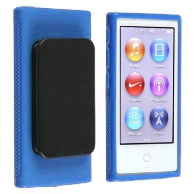 Importer520 Belt Clip TPU Rubber Skin Case Cover for Apple iPod Nano 7th Generation 7G 7 (Blue)