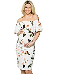 b832dee165f0 Women s Ruffle Off-Shoulder Maternity Dress W Side Sharing(Made in USA)