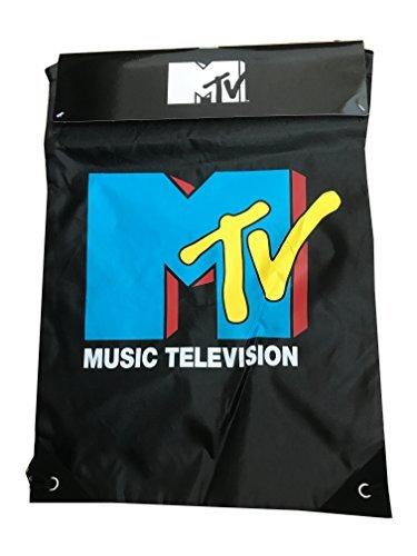 MTV Music Television Logo Drawstring Lightweight Shopper Sleepover Tote Bag
