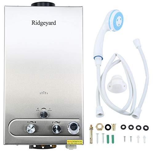 Ridgeyard 3.2GPM LPG Propane Gas Water Heater 12L Digital Display Tankless Stainless Instant Boiler Hot Water Heater Boiler Burner Indoor Home Bathroom Supplies