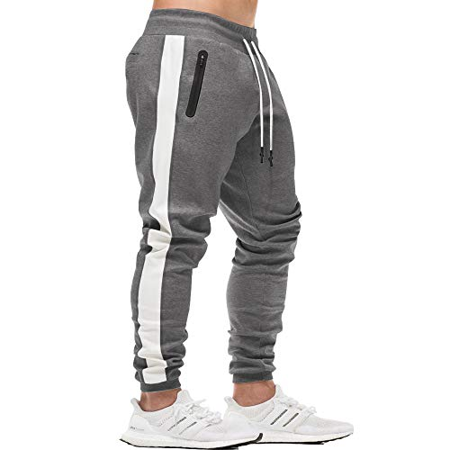 Tapered Pant Track - Men's Gym Workout Stripe Jogger Pants Slim Fit Tapered Sweatpants Running Track Pants Zipper Pockets Darkgrey L