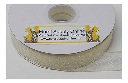 Bows 5/8 Ribbon Scrapbooking - #3 Monofilament Edge Sheer Organza Ribbon for Floral, Fashion, Craft, Scrapbooking, Gift Wrapping, Hair Bows, Wedding, Baby Shower, and Decorating Projects. (5/8 Inch x 25 Yard, Eggshell)