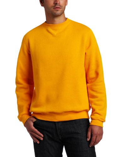 (Soffe Men's Training Fleece Crew Sweatshirt, Gold, Large)