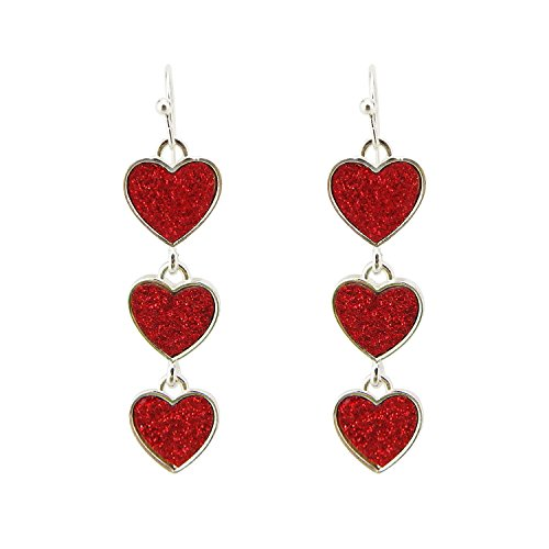 - Multi New Red Interlocking Heart Dangle Earrings For Women Girls Alloy Silver