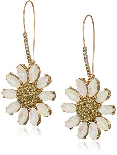 - Betsey Johnson (GBG) Women's Pave Daisy Flower Long Drop Earrings, Yellow, One Size