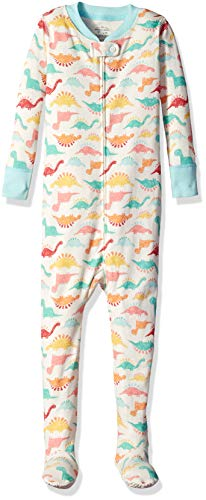 Moon and Back Organic One-Piece Footed Pajamas, Dino Print, 3T