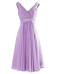 CaliaDress Women V Neck Ruffles Bridesmaid Dress Formal Prom Gowns Short C194LF