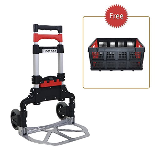 Finether Cart Aluminum Folding 2-wheel Hand Cart Lightweight Portable Hand Truck/Dolly with Collapsible and Detachable Box by Finether (Image #8)
