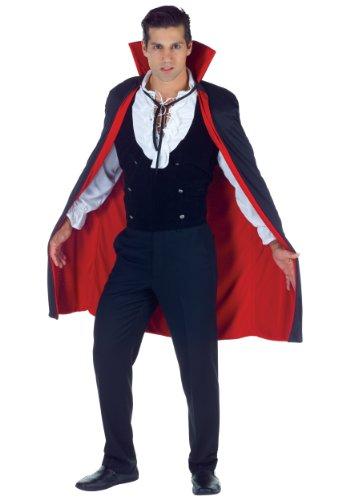 Underwraps Men's 38 Inch Vampire Cape, Black/Red, One Size