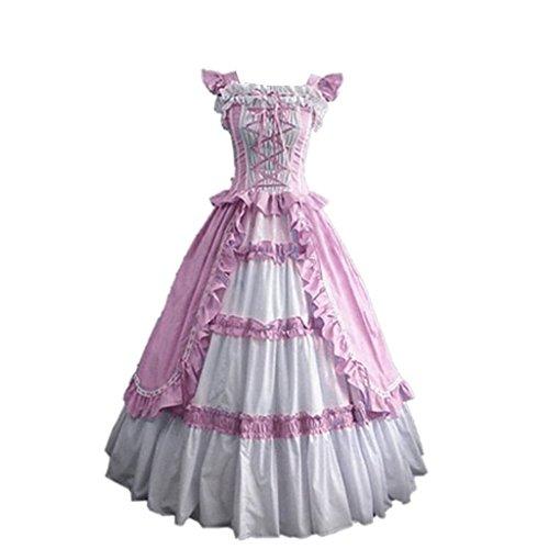 CosplayDiy Women's Square Neck Lolita Victorian Pink Dress