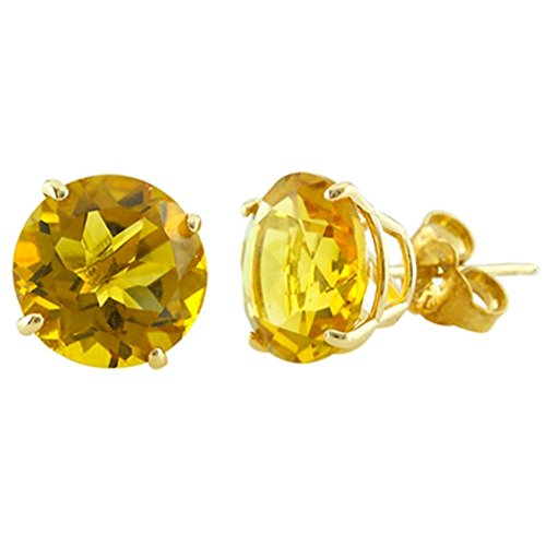Finejewelers 14k Yellow Gold 8mm Round Citrine Stud Earrings
