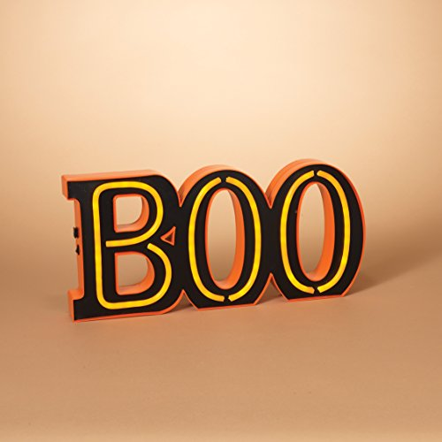 Lighted Neon Black and Orange Boo Sign Wall Hanging or Standing Halloween Decoration