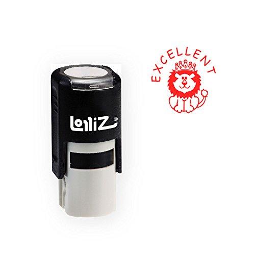 LolliZ Round Stamp Lion Illustraition 'Excelent' Text Self-Inking Red Ink by LolliZ