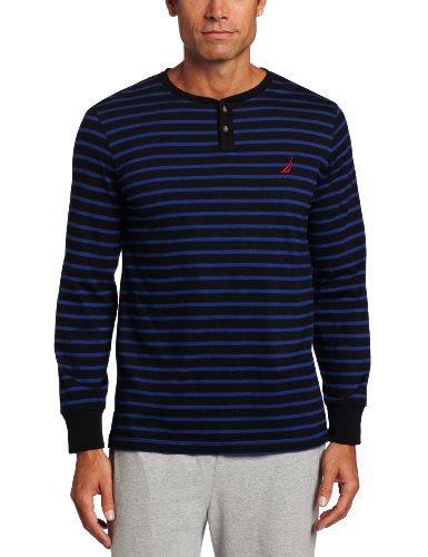 Nautica Men's Filmore Stripe Knit Henley, Black X-Large