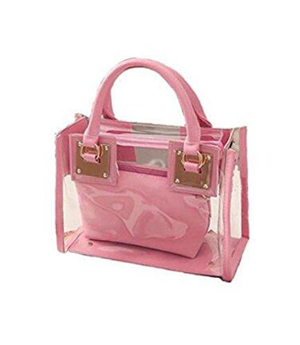 Evalent - Bolso de asas de pvc para mujer rosa