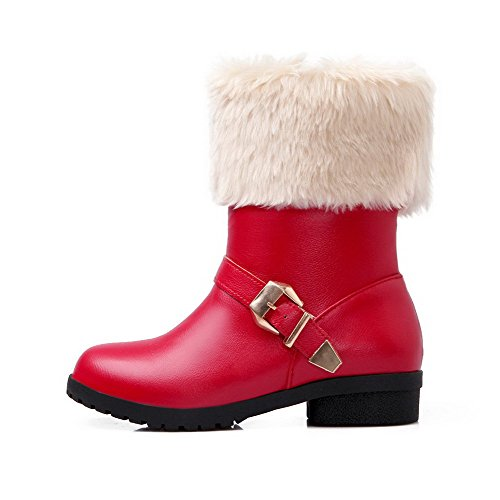 VogueZone009 Damen Niedriger Absatz Rein Rund Zehe Ziehen auf Stiefel mit Schnalle, Weiß, 39