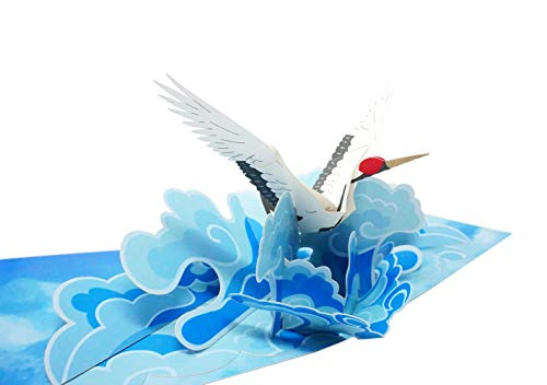 - WOWPAPERART Crane Bird - 3D Pop Up Color Greeting Card for All Occasions Birthday, Love, Congrats, Good Luck, Anniversary, Get Well, Good Bye, Retirement, Thank You, Travel - Premium, Handcrafted