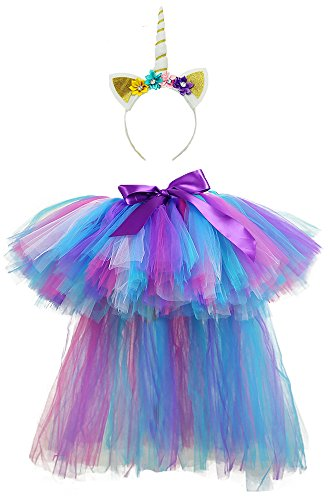 Tutu Dreams Unicorn Outfits for Girls Birthday Long Train Tutu Dress with Headband Pageant -