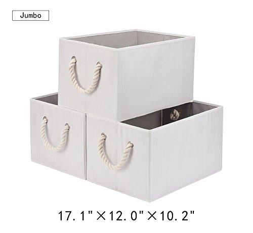 Jumbo Shelf Storage - StorageWorks Polyester Storage Bin with Strong Cotton Rope Handle, Foldable Storage Basket, White, Bamboo Style, Jumbo, 3-Pack