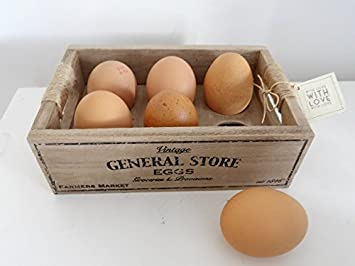 Vintage Wooden Egg Crate With Love Gift Tag Amazoncouk Kitchen