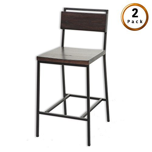 Fashion Bed Group Olympia Counter Stool with Black Matte Finished Metal Frame, Footrest and Black Cherry Colored Wood, 26-Inch Seat Height, 2-Pack For Sale
