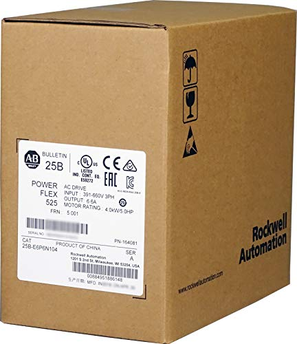 Allen-Bradley 25B-E6P6N104 PowerFlex 525 AC Drive, with Embedded EtherNet/IP and Safety, 600 VAC, 3 Phase, 5 HP, 4 kW Normal Duty; 5 HP, 4 kW Heavy Duty, Frame B, IP20 NEMA/Open Type, No Filter