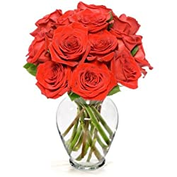 Benchmark Bouquets Dozen Red Roses, for Valentine's Day, With Vase