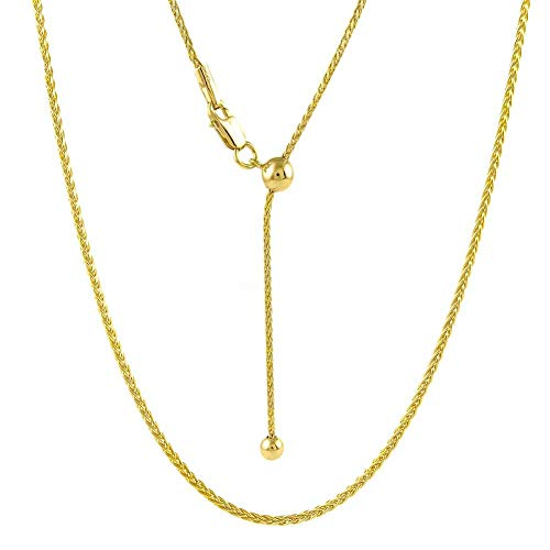 925 Chain Sterling Spiga Silver - Sterling Silver 1.3MM Adjustable Wheat Chain Necklace 24' - Adjustable Fox Tail Spiga Necklace in 4 Colors (Gold Plated)