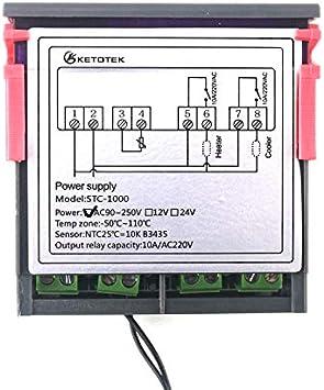 12V KETOTEK LED Regolatore di temperatura Digitale Termostato Sensore NTC 12V Reptiles Semina Brewing Fermentation Riscaldamento Raffreddamento