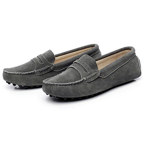 Rismart Mujeres Ante Cuero Moda Mocasines Ponerse Casual Pisos Zapatos Grau