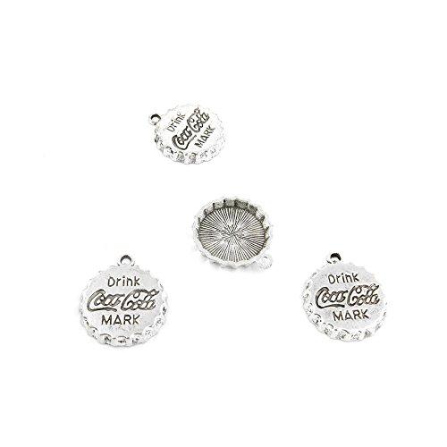 5 Pieces Antique Silver Jewelry Making Charms Pendant Lots Bulk Necklace Repair Retro DIY Q0705 Coca Cola Drink Cap ()
