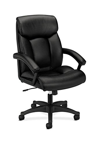 HON HVL151.SB11 Leather Executive Chair - High-Back Computer Chair for Office Desk, Black (VL151) from HON
