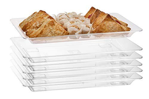 "Exquisite - 6 Pack Crystal Clear Premium Quality 14.5""x 9.5"" Rectangle Plastic Disposable Serving Trays For Parties - Heavy Duty Serving Platter And Serving Trays For Eating (Medium - 14.5"" x 9.5"")"