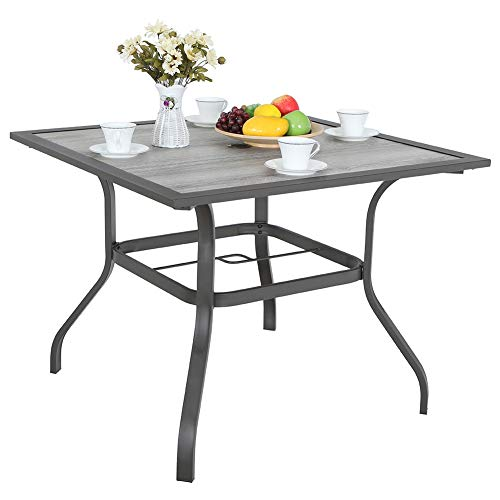 Outdoor Dinning Table 37″ Square Patio Bistro Table with Umbrella Hole, Steel Frame, Easy Assembly