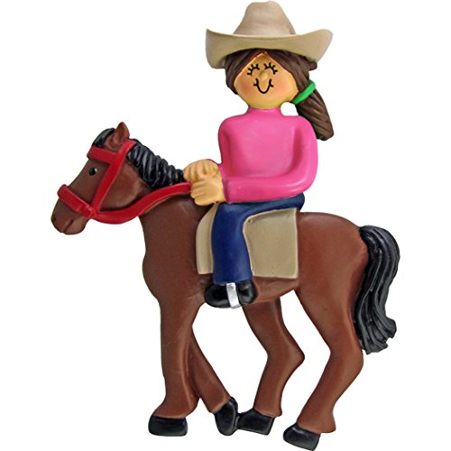 Personalized Horseback Riding Christmas Tree Ornament 2019 - Brunette Horsewoman Equestrian with Western Hat on Trail Lesson Teacher Race Sport Activity - Free Customization (Brown Hair) (Horse Tree Ornaments)