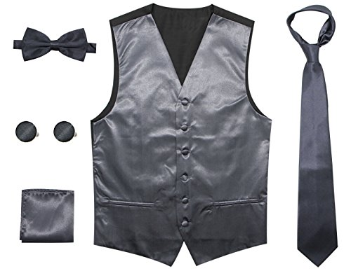 Bioterti Men's 5-Piece Vest Set: Vest + Necktie + Pre-Tied Bowtie+ Pocket Square + Pair Of Cufflinks (X-Large, Charcoal) (Square Cufflinks Pair)