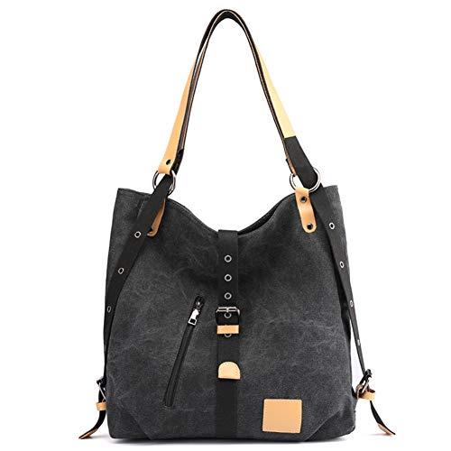 Black Bolso Lona Color Simple Compras Mujer Capacidad De Funciones Viajes Sólido Gran Múltiples qxPp7fwqrO