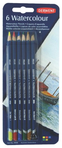 Derwent Colored Pencils, Watercolor, Water Color Pencils, Drawing, Art, Pack, 6 Count (39008)