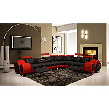 Amazon.Com: Vig Furniture 4087 Red And Black Leather Sectional
