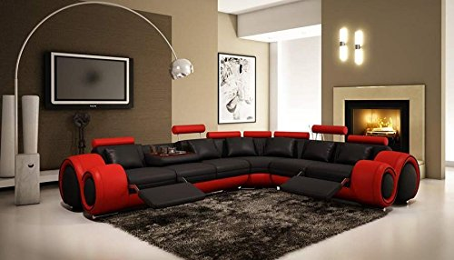 VIG Furniture 4087 Red and Black Leather Sectional Sofa w/ recliners (Sectional Sofa Cup Holder)