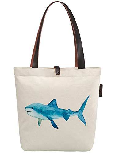 So'each Women's Shark Water Color Graphic Canvas Handbag Tote Shoulder Bag