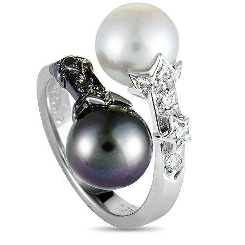 Chanel White Ring - Chanel (Est.) Chanel Comete 18K White Gold Diamond and Pearl Ring