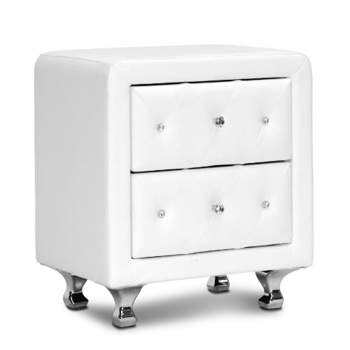Baxton Studio Stella Crystal Tufted Upholstered Modern Nightstand, White by Baxton Studio