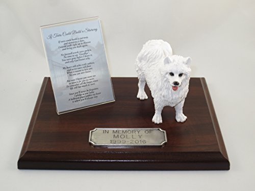 Beautiful Walnut Finished Personalized Memorial Plaque With American Eskimo ()
