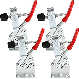 Toggle Clamp 4 Pack 201B Push Pull Quick Release Horizontal Clip With Rubber Pressure Tip Hold Down Hand Tool Large Weight Capacity 300lbs (Color: As Shown)