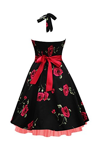 Black Butterfly Robe Années 50 Vintage Infinity 'Rhya' (Grosses Roses Rouges, FR 46 - XXL)