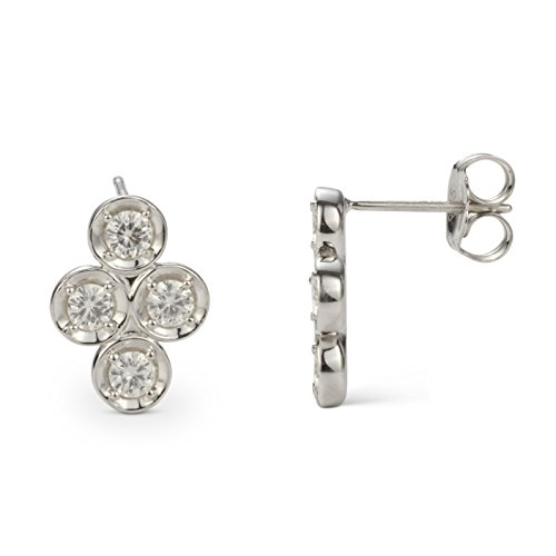 (Forever Classic 3.25mm Round Moissanite Clover Drop Earrings, 1.04cttw DEW by Charles & Colvard)